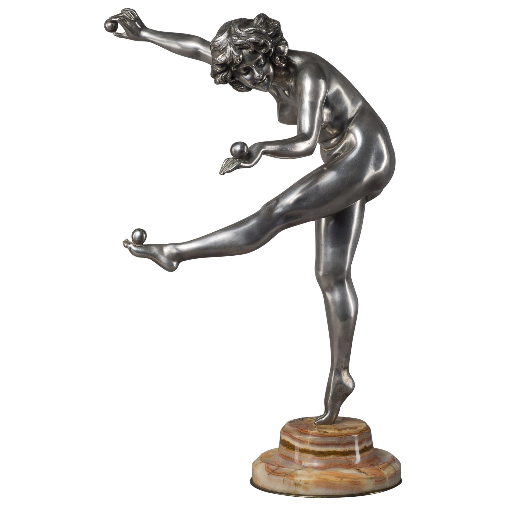'The Juggler', an Art Deco Bronze Figure, by Claire J. R. Colinet, circa 1925