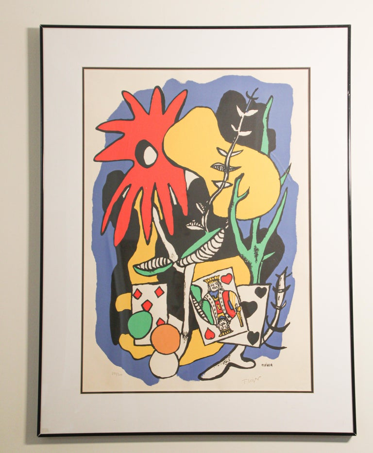 Rare limited edition of 284/300, pencil signed lithograph by Fernand Leger. Le Roi de cœur (The King of Heart) 1949. This piece showcases Leger's use of color and movement in his work. The lithograph by itself without the frame is 20