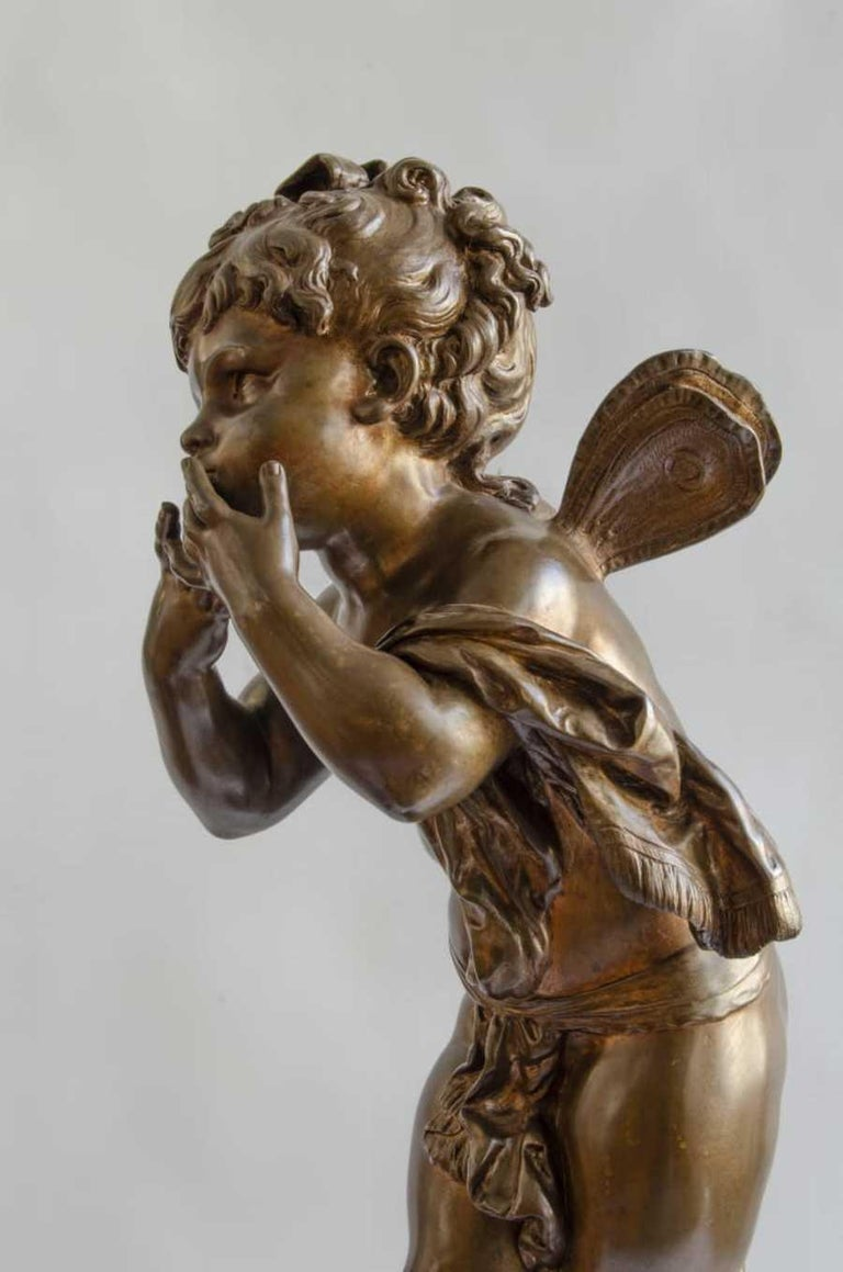 Aguste Moreau. Bronze Foundry B Colin. Paris base marble Ruge Royal with watch (machine Paris) 22 cm 19th century clock, does not work small imperfections in the marble  Measures: Total 72 cm.