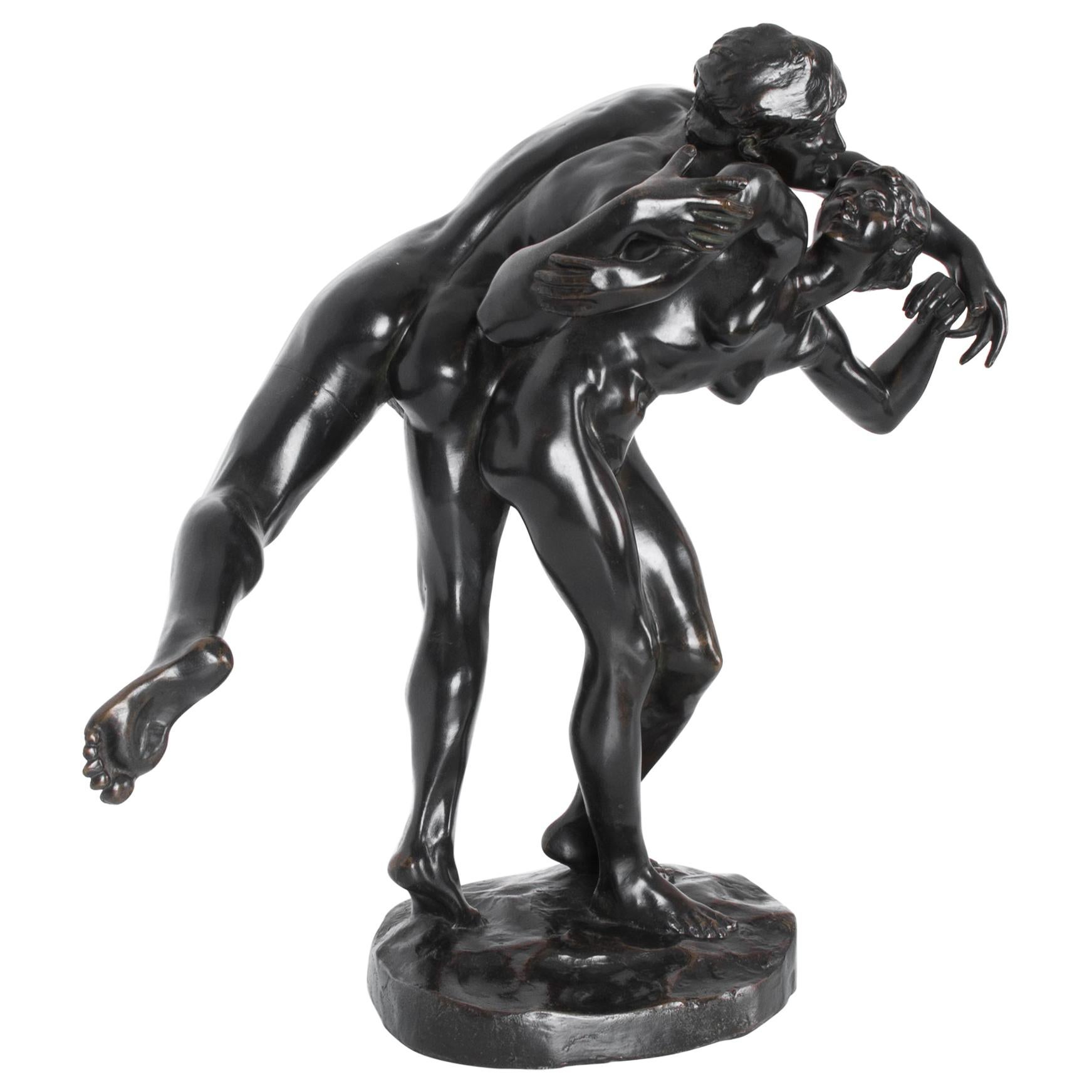 """The Kiss"" Bronze Sculpture by J. Lambeaux, circa 1900"