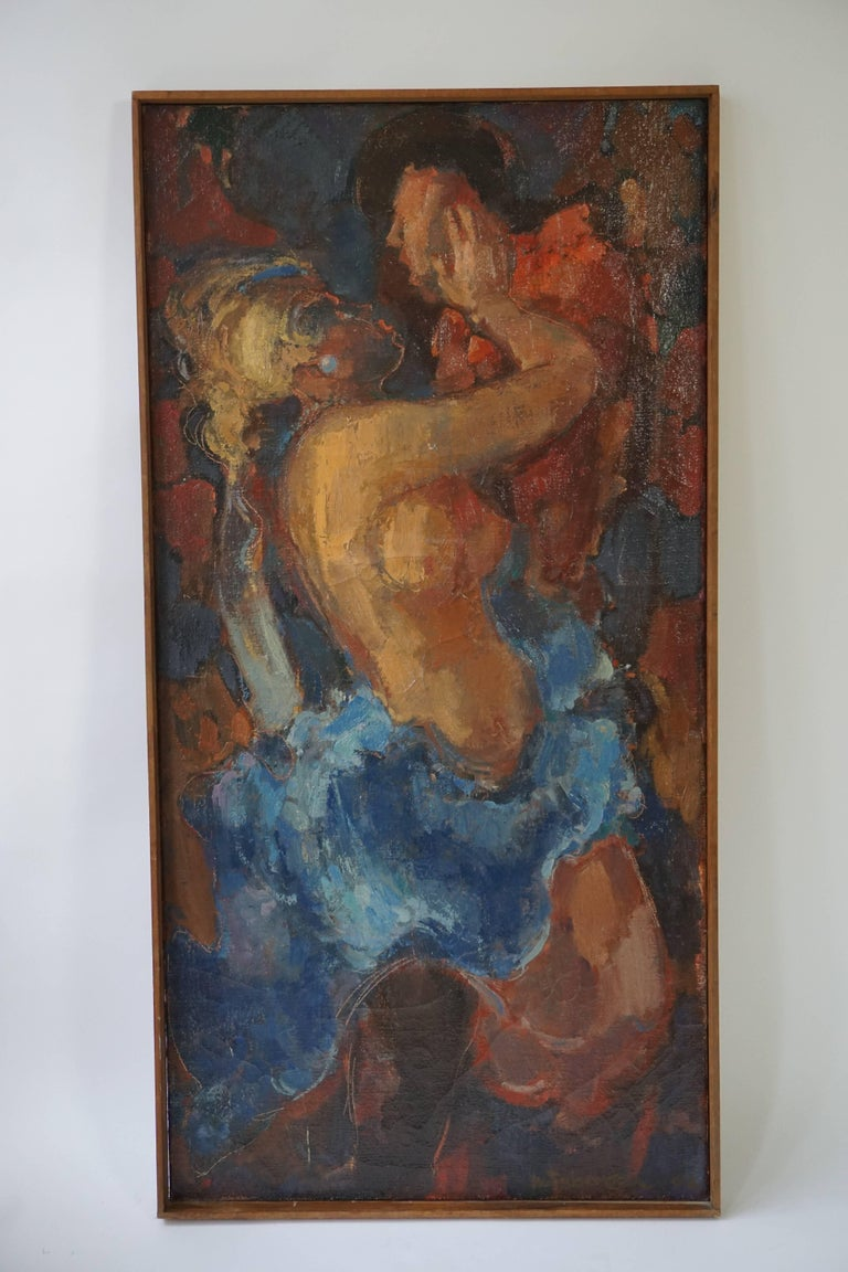 Mid-Century Modern Kiss Oil on Canvas Painting by J Mijsbergen, 1968, Holland For Sale