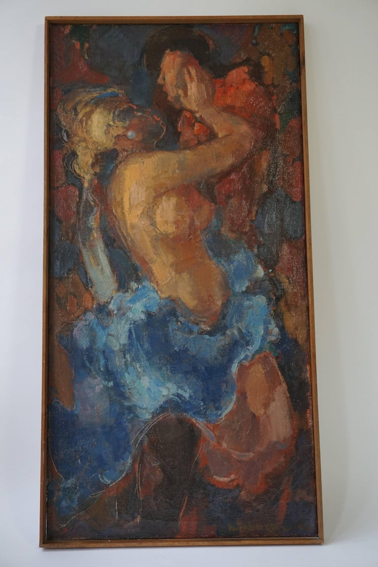 Dutch Kiss Oil on Canvas Painting by J Mijsbergen, 1968, Holland For Sale