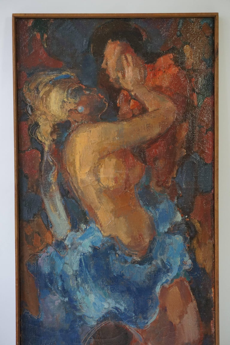 Hand-Painted Kiss Oil on Canvas Painting by J Mijsbergen, 1968, Holland For Sale
