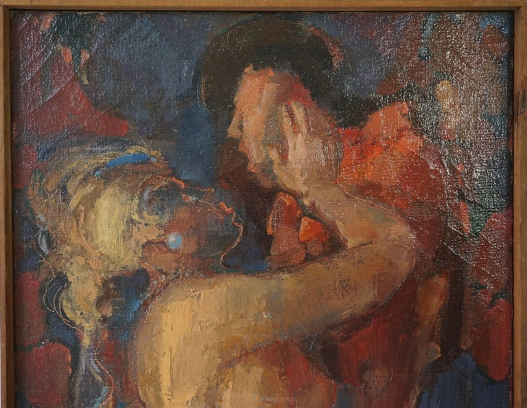 Kiss Oil on Canvas Painting by J Mijsbergen, 1968, Holland In Good Condition For Sale In Antwerp, BE