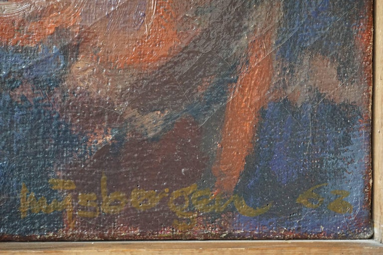 Kiss Oil on Canvas Painting by J Mijsbergen, 1968, Holland For Sale 1
