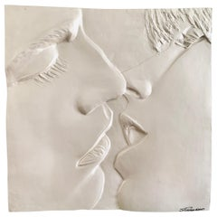 The Kiss Original Signed Sculpture 3-D Wall Art Relief