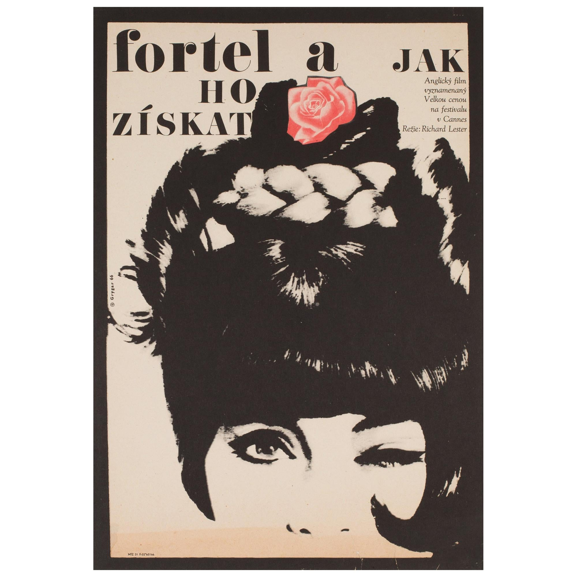 The Knack And How To Get It 1966 Czech A3 Film Poster, Grygar