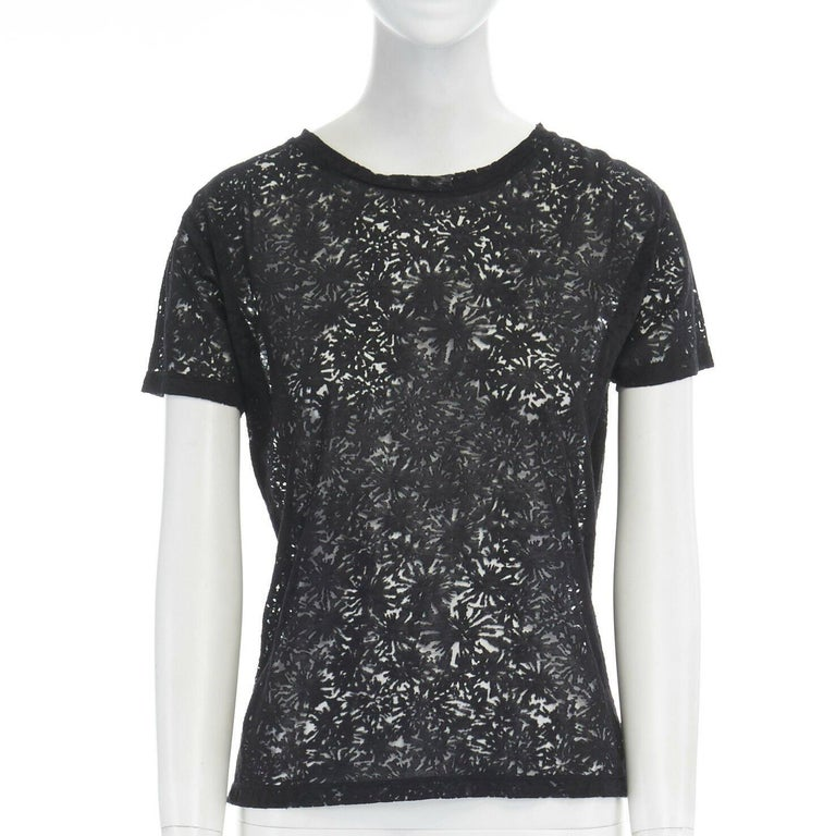 THE KOOPLES black abstract semi sheer burnout short sleeve t-shirt top XS Brand: The Kooples Model Name / Style: T-shirt Material: Lyocell, cotton, polyester Color: Black Pattern: Abstract Closure: Pull on Extra Detail: Short sleeve. Round Neck