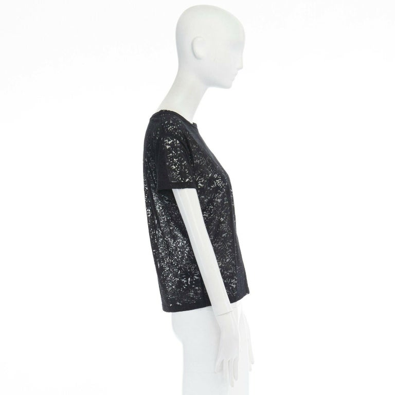 Black THE KOOPLES black abstract semi sheer burnout short sleeve t-shirt top  XS For Sale