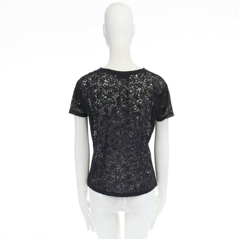 THE KOOPLES black abstract semi sheer burnout short sleeve t-shirt top  XS In Excellent Condition For Sale In Hong Kong, NT