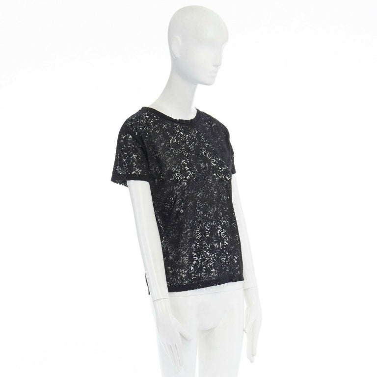 Women's THE KOOPLES black abstract semi sheer burnout short sleeve t-shirt top  XS For Sale