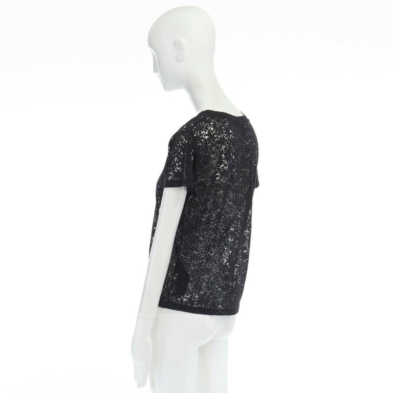 THE KOOPLES black abstract semi sheer burnout short sleeve t-shirt top  XS For Sale 1