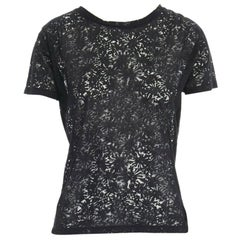 THE KOOPLES black abstract semi sheer burnout short sleeve t-shirt top  XS