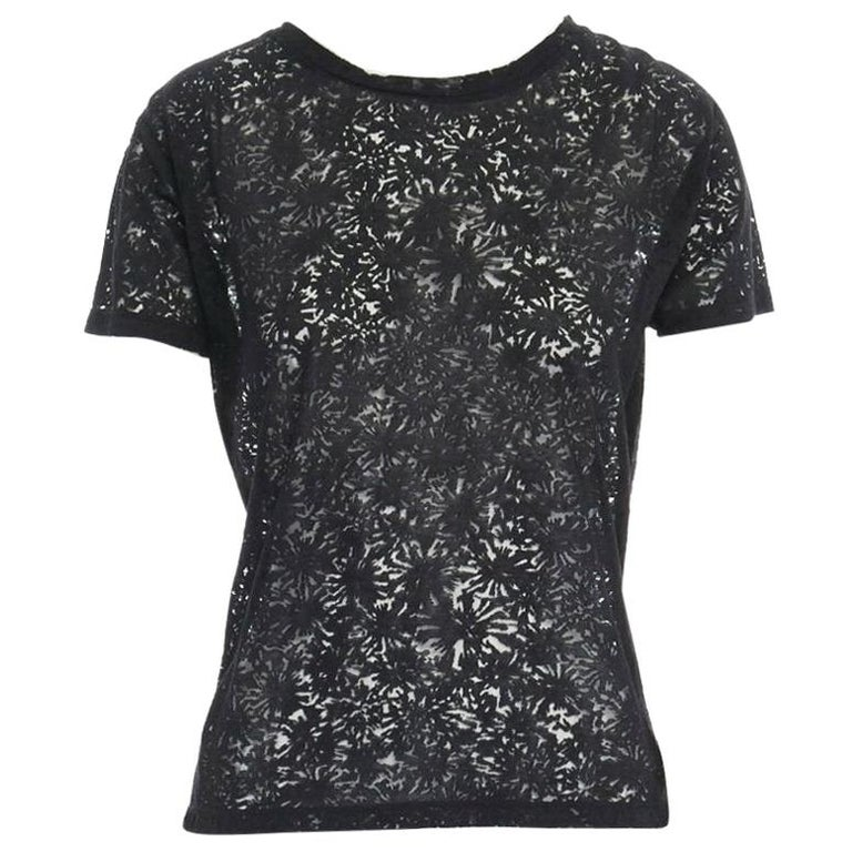 THE KOOPLES black abstract semi sheer burnout short sleeve t-shirt top  XS For Sale