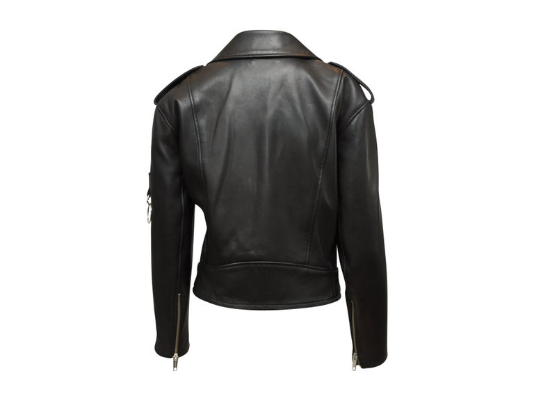 The Kooples Black Leather Moto Jacket In Excellent Condition In New York, NY