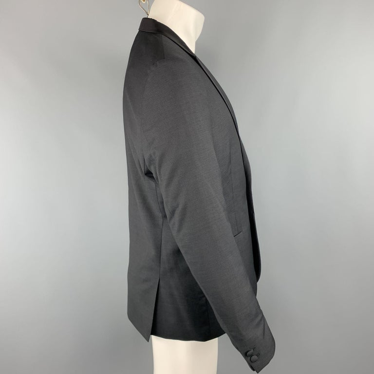 THE KOOPLES Chest Size 42 Nailhead Black Wool Peak Lapel Sport Coat In Excellent Condition For Sale In San Francisco, CA