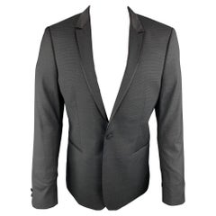 THE KOOPLES Chest Size 42 Nailhead Black Wool Peak Lapel Sport Coat