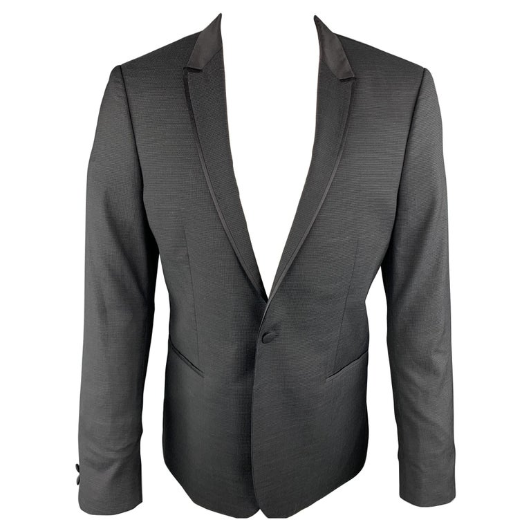 THE KOOPLES Chest Size 42 Nailhead Black Wool Peak Lapel Sport Coat For Sale