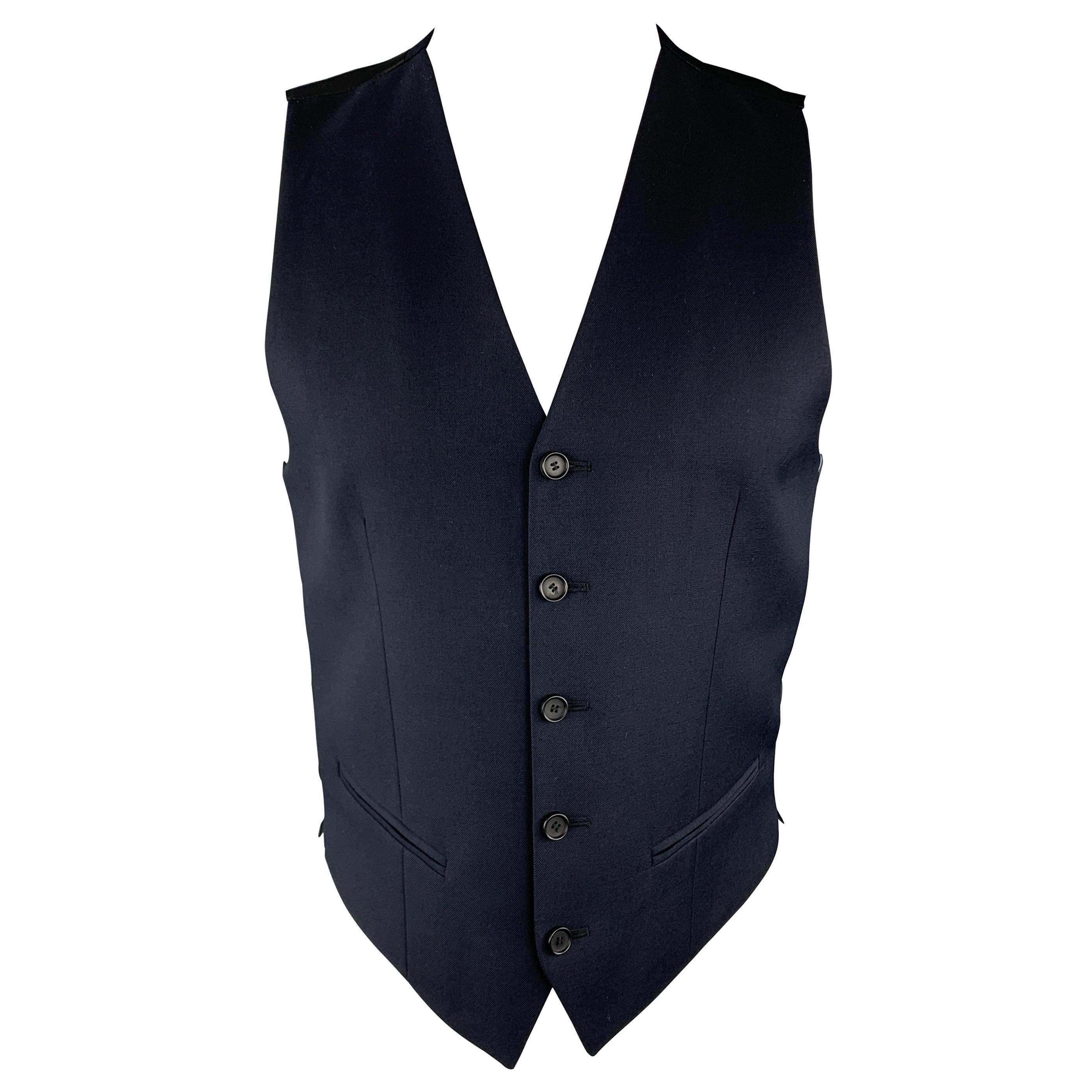 THE KOOPLES Size 36 Navy & Black Wool Buttoned Vest