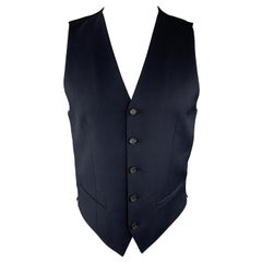 THE KOOPLES Size 36 Navy & Black Wool Buttoned Vest
