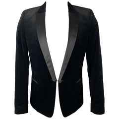 THE KOOPLES Size 38 Black Cotton Velvet Satin Peak Lapel Sport Coat