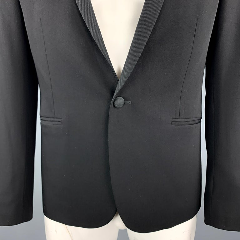 THE KOOPLES Size 40 Black Wool Shawl Collar Single Button Sport Coat In Excellent Condition For Sale In San Francisco, CA