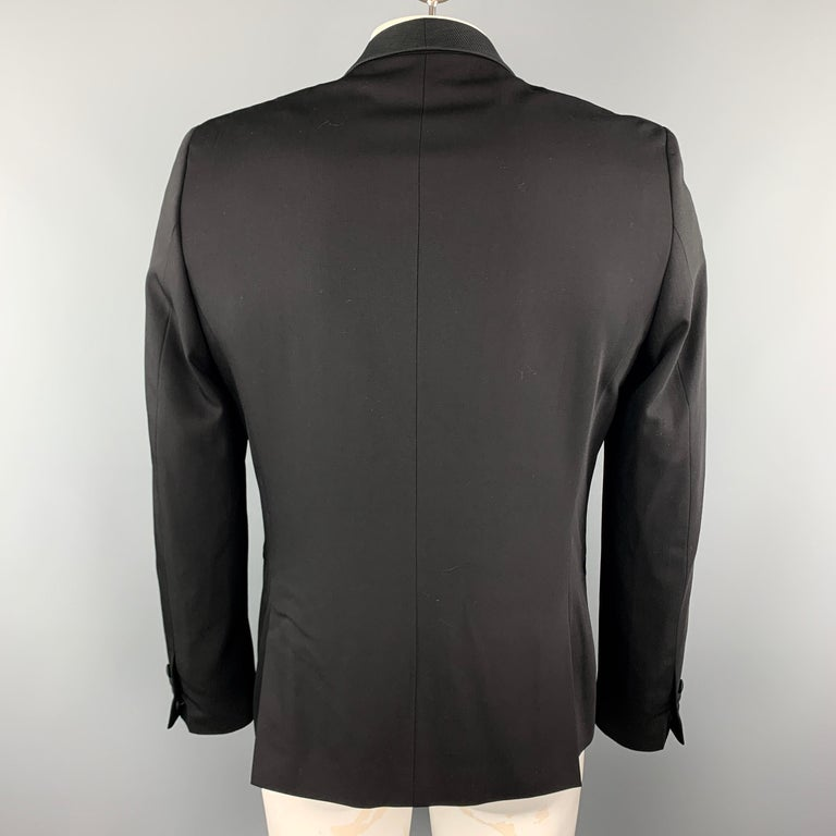 Men's THE KOOPLES Size 40 Black Wool Shawl Collar Single Button Sport Coat For Sale