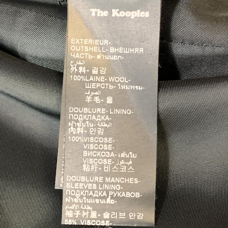 THE KOOPLES Size 40 Black Wool Shawl Collar Single Button Sport Coat For Sale 3