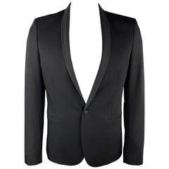 THE KOOPLES Size 40 Black Wool Shawl Collar Single Button Sport Coat