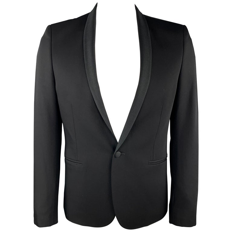 THE KOOPLES Size 40 Black Wool Shawl Collar Single Button Sport Coat For Sale