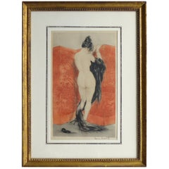 """Lacquered Screen"" by Louis Icart Etching Pencil Signed and Numbered 289"