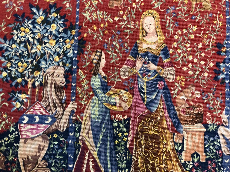 Made in 20th century   The lady and the Unicorn (French: La Dame à la licorne) is the modern title given to a series of six tapestries woven in Flanders from wool and silk, from designs (