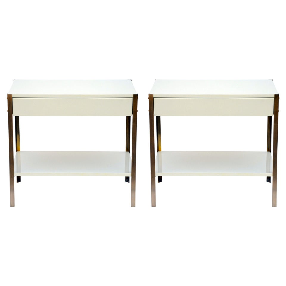 The 'Laque' Ivory Lacquer and Brass Night Stands by Design Frères