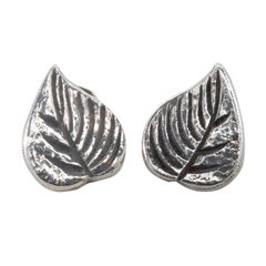 The Leaves, Pair of Earrings 'Clips' in Silvered Bronze, Line Vautrin 'France'