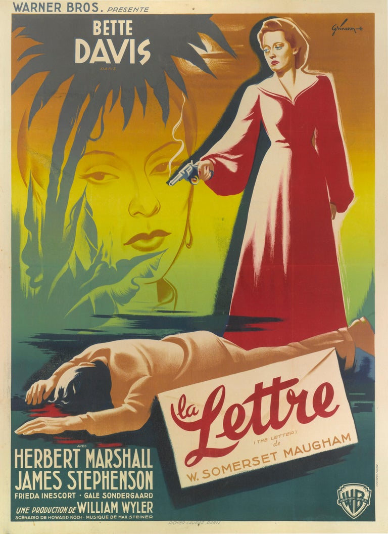Original French film poster for William Wyler's 1940 Film Noir starring Bette Davis, Herbert Marshall and James Stephenson. The screenplay by Howard E. Koch is based on the 1927 play of the same name by W. Somerset Maugham. This Classic film noir