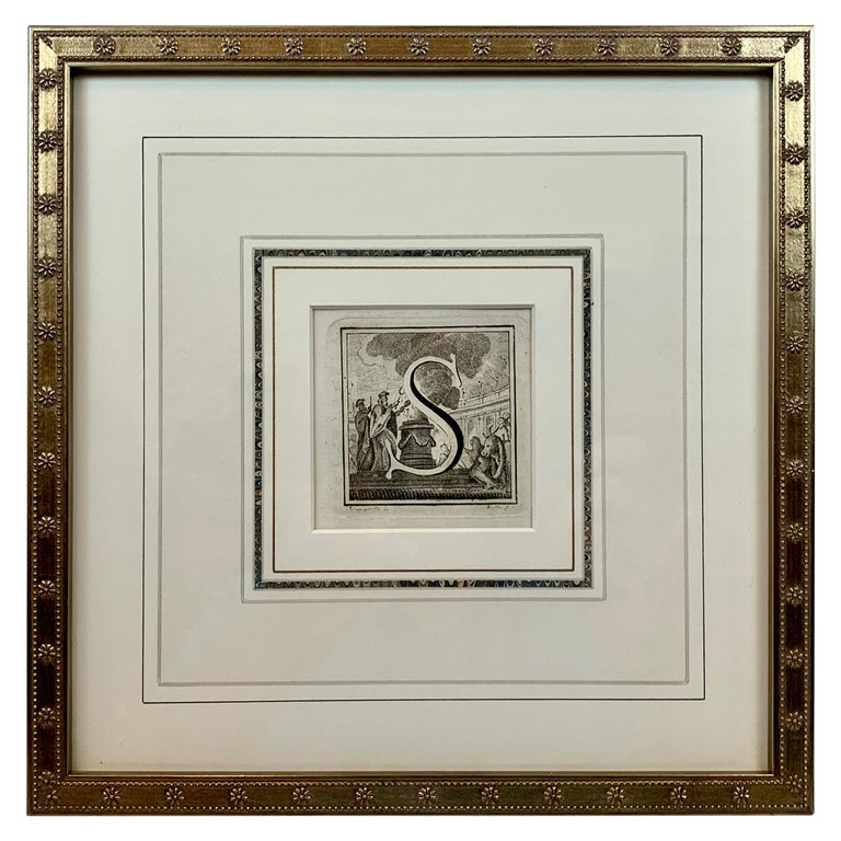 """The Letter """"S"""" Engraved by L. Vanvitelli, circa 1771 with French Mat For Sale"""