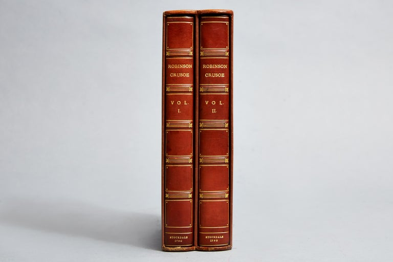 Daniel DeFoe  2 volumes  Bound in full polished calf by Morrell, engraved frontispiece and vignette title pages. Illustrated with 12 plates by Thomas Stothard, all edges gilt, raised bands, gilt panels.  First edition  In a fleece