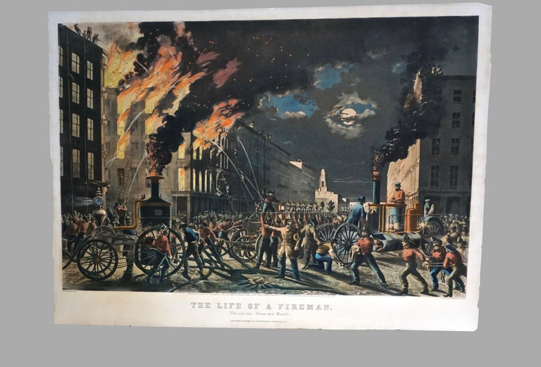The Life of a Fireman a Rare Folio Sized Currier & Ives Colored Lithograph For Sale 5