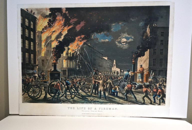 The Life of a Fireman a Rare Folio Sized Currier & Ives Colored Lithograph For Sale 7