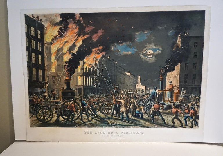 The Life of a Fireman a Rare Folio Sized Currier & Ives Colored Lithograph For Sale 8