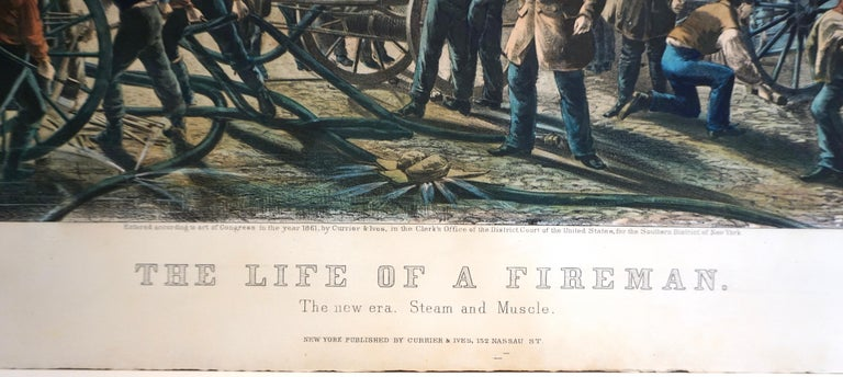 The Life of a Fireman a Rare Folio Sized Currier & Ives Colored Lithograph In Good Condition For Sale In San Francisco, CA