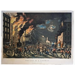 The Life of a Fireman a Rare Folio Sized Currier & Ives Colored Lithograph