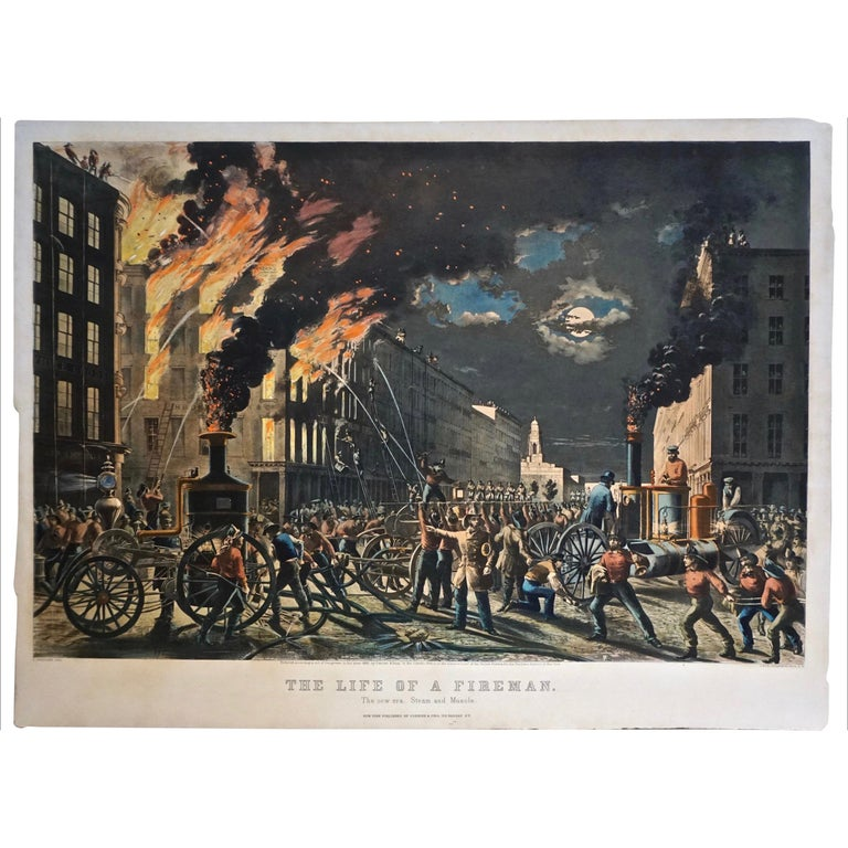 The Life of a Fireman a Rare Folio Sized Currier & Ives Colored Lithograph For Sale