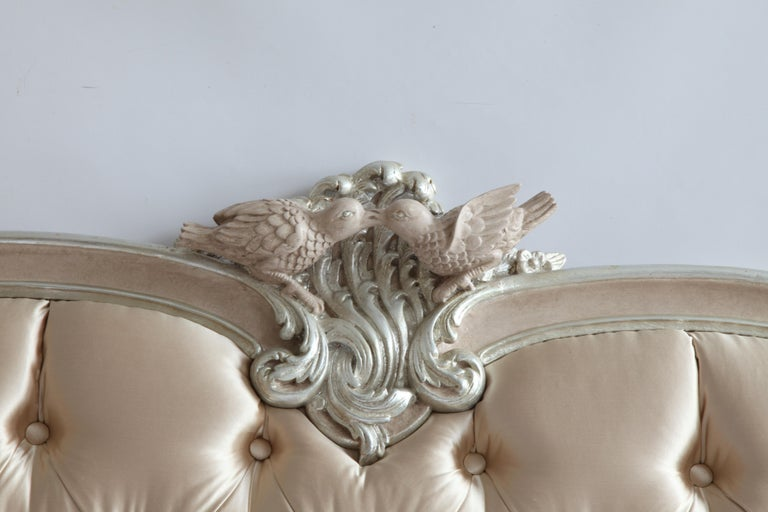 Louis XV Lit De Marriage Bed, Made in the LXV Style, Finished in Rose and Silver For Sale