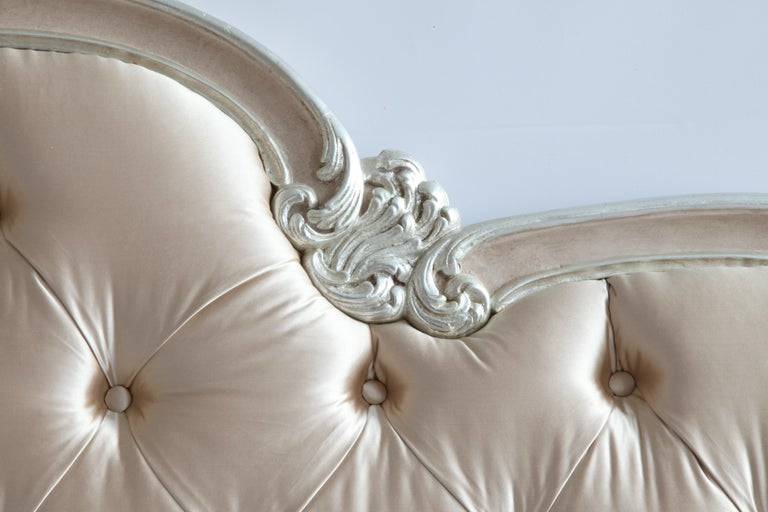 English Lit De Marriage Bed, Made in the LXV Style, Finished in Rose and Silver For Sale