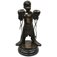 """The Little Champ"" Bronze Marble Boy Boxer Statue Sculpture Signed Jim Davidson"