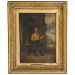 Victorian Oil Painting - The Little Yellow Man