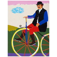 'The Long Way Home' Portrait Painting by Alan Fears, Bicycle Penny Farthing