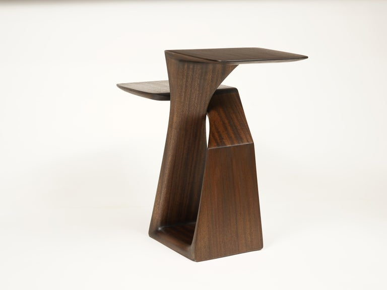 American The Loop, Organic, Sculpted, Contemporary Sapele Drink Stand or Occasional Table For Sale