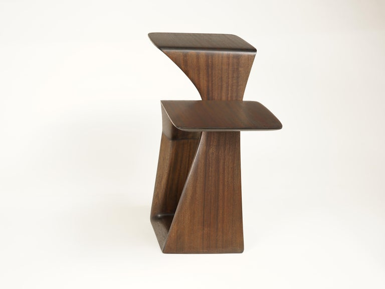Carved The Loop, Organic, Sculpted, Contemporary Sapele Drink Stand or Occasional Table For Sale